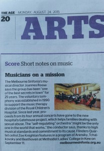 Sinfonia - article The Age (24 Aug 15)